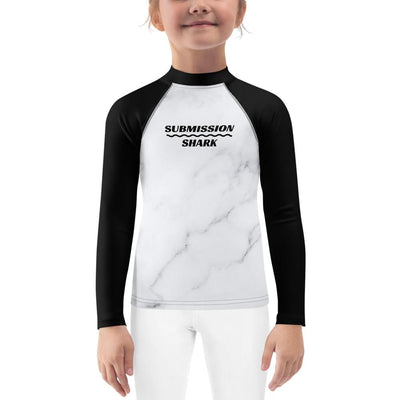 Kid's Black and White BJJ Rash Guard (Ivory Marble)
