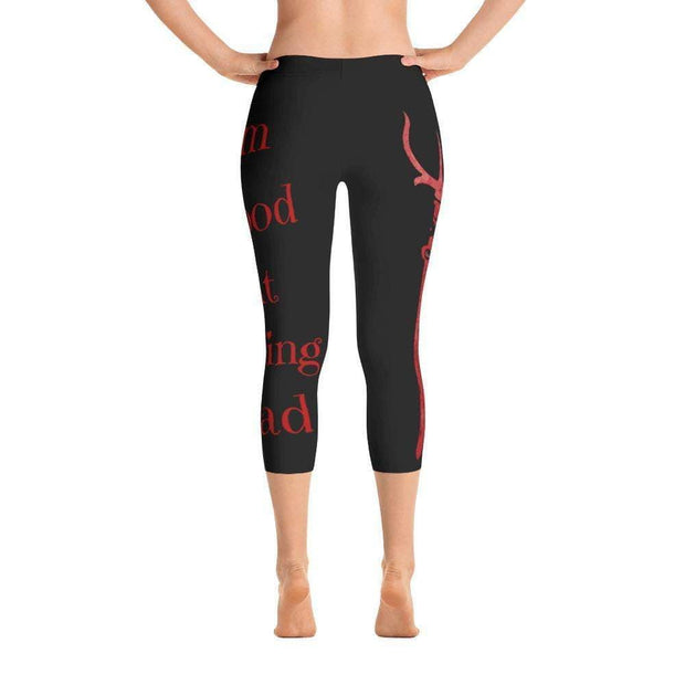 I'm Good At Being Bad Devil Pitch Fork Capri Leggings | Submission Shark Back