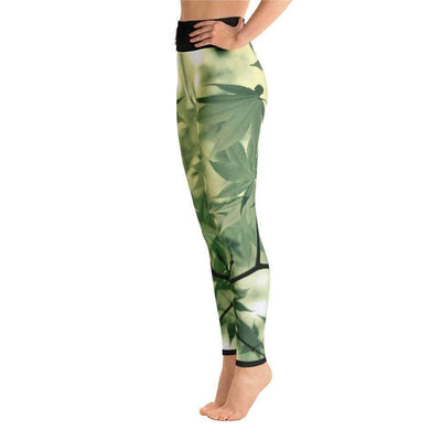 Legalize Leaf Yoga Leggings | Submission Shark Left