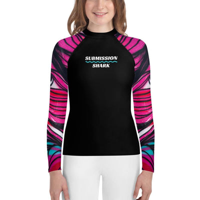 Pink Unisex Youth BJJ Rash Guard - Tangled Looks