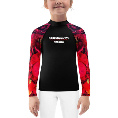 Kids BJJ Rash Guard (Scarlet Roses)