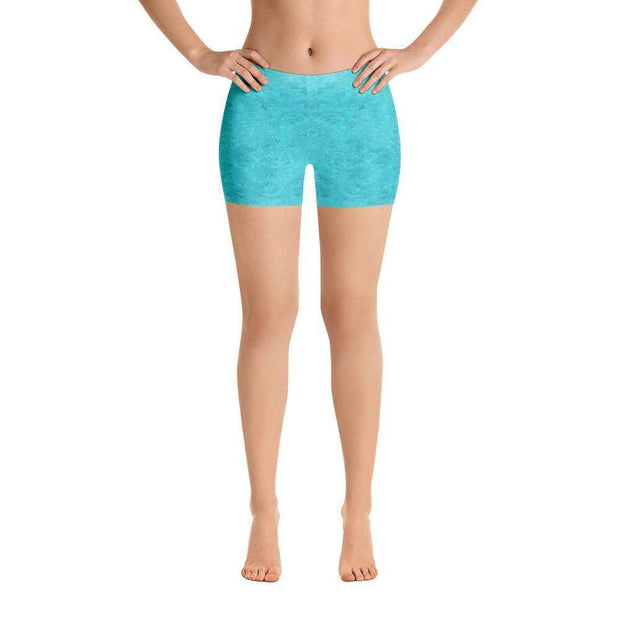 Turquoise Love Sports Shorts | Submission Shark Front
