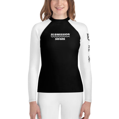 White SS Premium Standard - Youth Rash Guard (Submission Shark Jiu Jitsu Clothing)