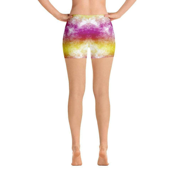 Joyful Jubilee | Pink & Yellow Sports Shorts | Submission Shark - tamlifestyle