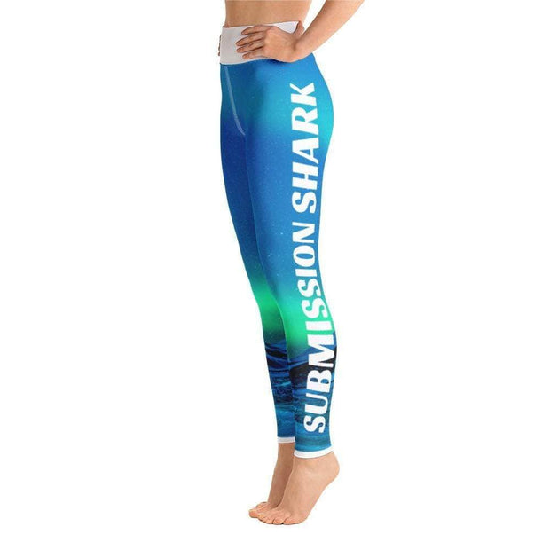 Cosmic Aurora Yoga Leggings | Submission Shark Left