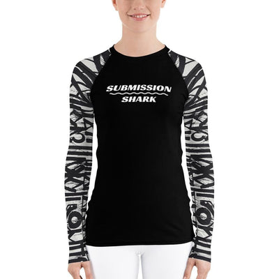 Shop Women's White and Black Rash Guard (White Noise)