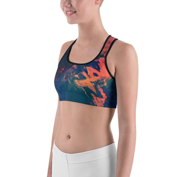 Abstract Azure Sports bra | Submission Shark Left