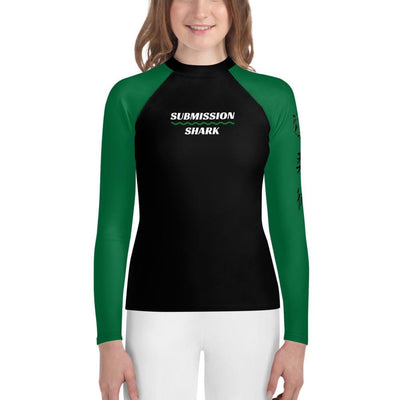 Green SS Premium Standard - Youth Jiu Jitsu Rash Guard