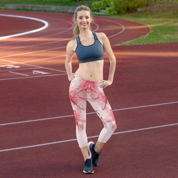 Coral Birds | Capri Leggings | Submission Shark - tamlifestyle