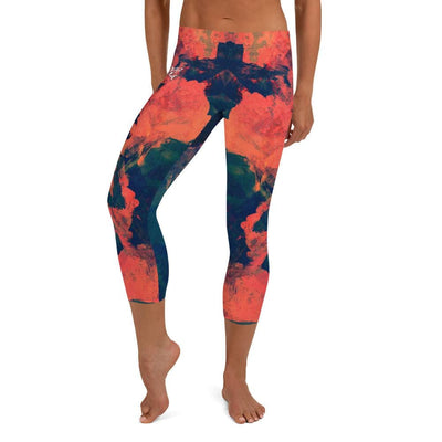 Abstract Azure Orange and Blue Capri Leggings