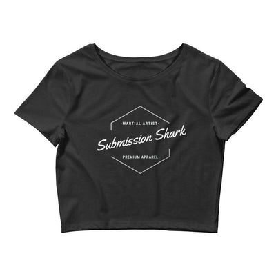 Classic Submission Shark - Women's Black Crop Tee