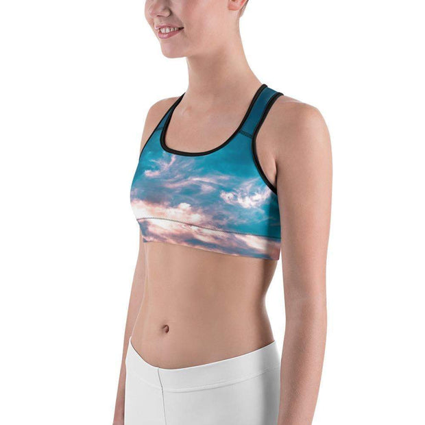 Aquatic Skies Sports bra | Submission Shark Left