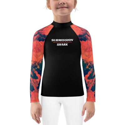 Kids Orange BJJ Rash Guard (Abstract Azure)