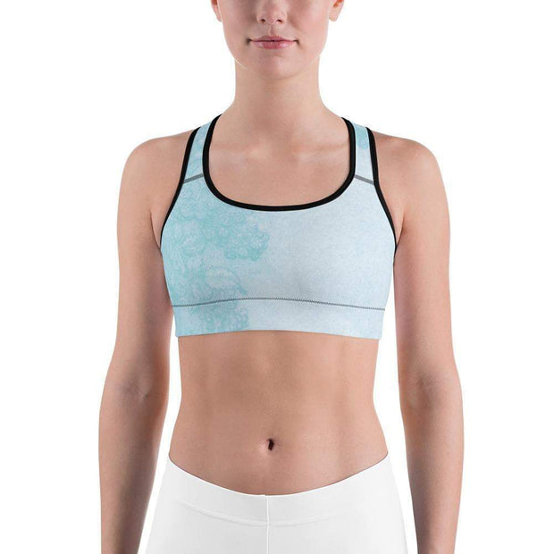 Baby Blue Beauty Sports bra | Submission Shark Black Front