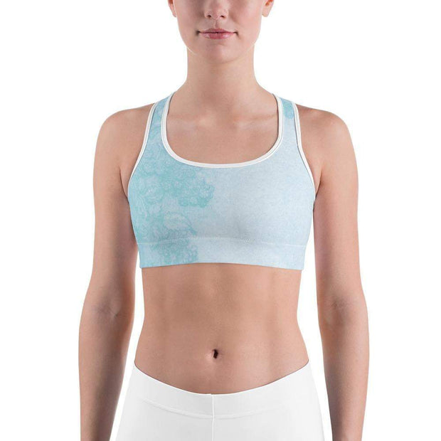 Baby Blue Beauty Sports bra | Submission Shark Front