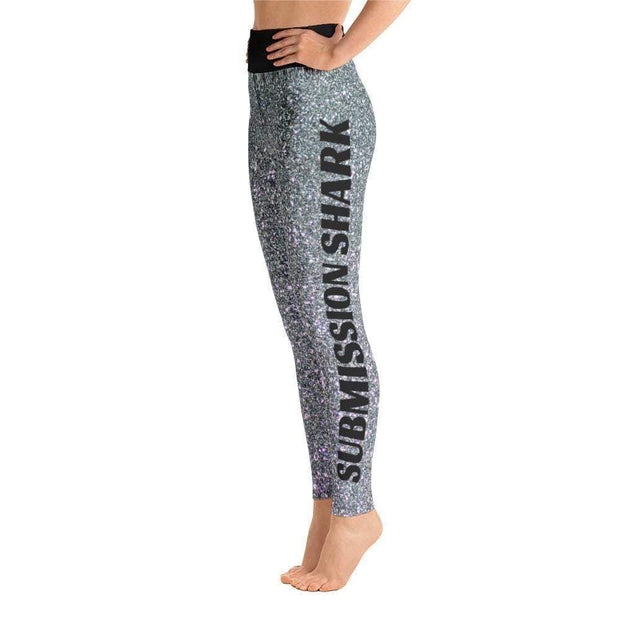 Sparkling Silver Yoga Leggings | Submission Shark Left