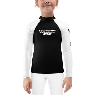 White SS Premium Standard ~ Kid's BJJ Rash Guard