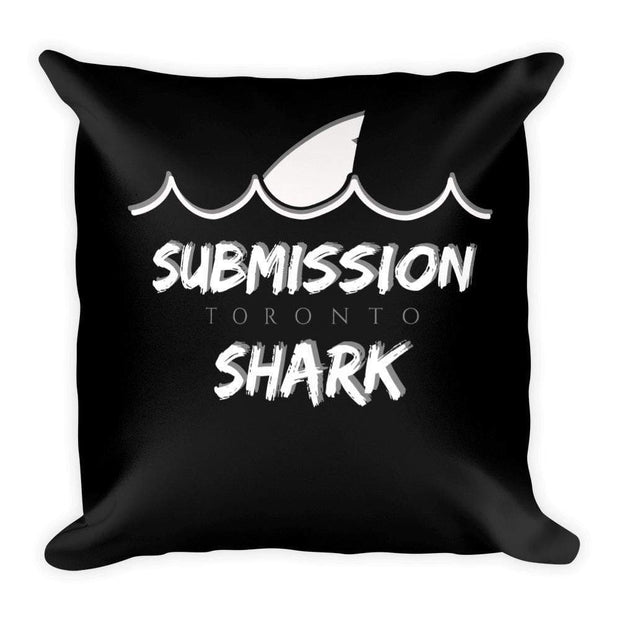 Submission Shark's Wavy Black Square Pillow