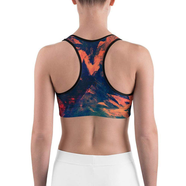 Abstract Azure Sports bra | Submission Shark Back
