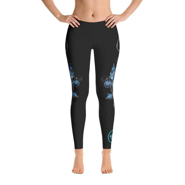 Aqua Floral Leggings | Submission Shark Front
