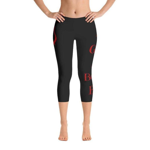 I'm Good At Being Bad Devil Pitch Fork Capri Leggings | Submission Shark Front