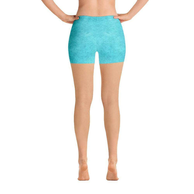 Turquoise Love Sports Shorts | Submission Shark Back