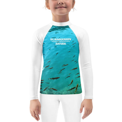 Kids White and Blue BJJ Rash Guard (Fish's Paradise)