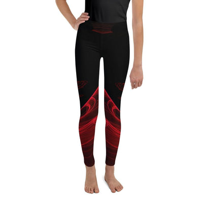 Calm Blaze Red and Black Youth BJJ Leggings