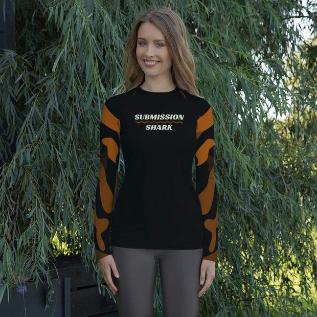 Ranked 1.0 (Brown) Women's Compression Shirt | Submission Shark Rashguard Front