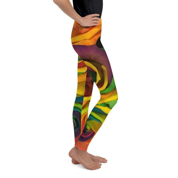 Rainbow Roses Youth Leggings | Submission Shark Right