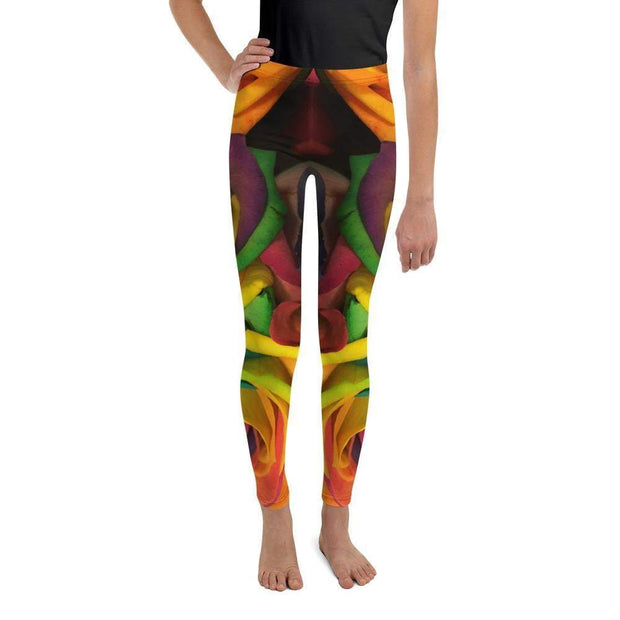 Rainbow Roses Youth Leggings | Submission Shark Front