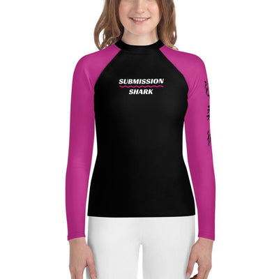 Youth Rash Guard - Pink SS Premium Standard (Submission Shark BJJ Gear)
