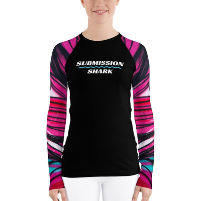 Women's Pink Submission Shark Rash Guard (Tangled Looks)