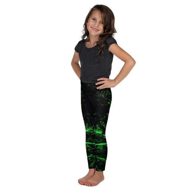 Glowing Green Forest Kid's Leggings | Submission Shark Left