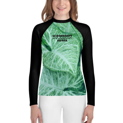 Jade Leaves - Green Girl's Youth Rash Guard