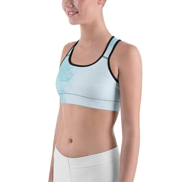 Baby Blue Beauty Sports bra | Submission Shark Black Left