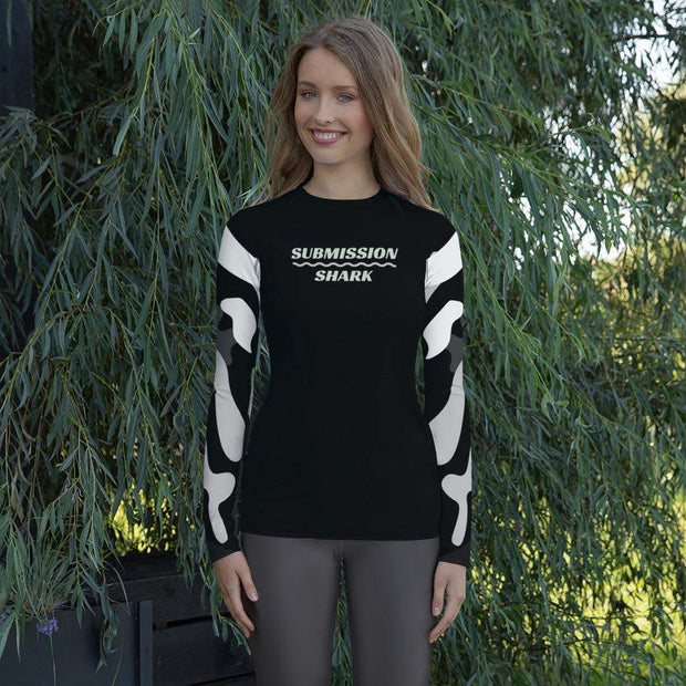 Ranked 1.0 (Black) Women's Compression Shirt | Submission Shark Rashguard Front