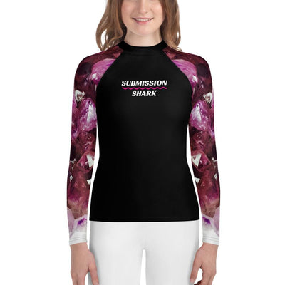 Unisex Youth MMA Rash Guard - Violet Gemstone