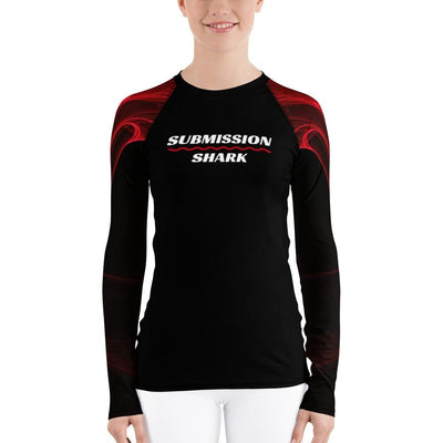 Women's Red BJJ Rash Guard (Calm Blaze)