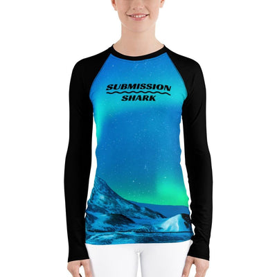 Shop Women's Blue BJJ Rash Guard (Cosmic Aurora)