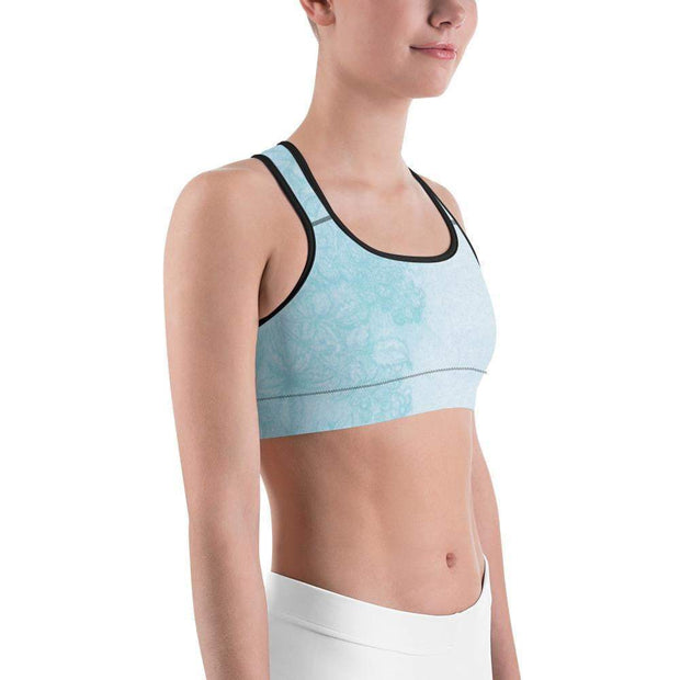 Baby Blue Beauty Sports bra | Submission Shark Black Right