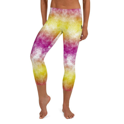 Joyful Jubilee Capri Leggings (Yellow and Pink No-Gi BJJ Gear)