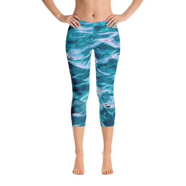 Deep Ocean Capri Leggings | Submission Shark Front