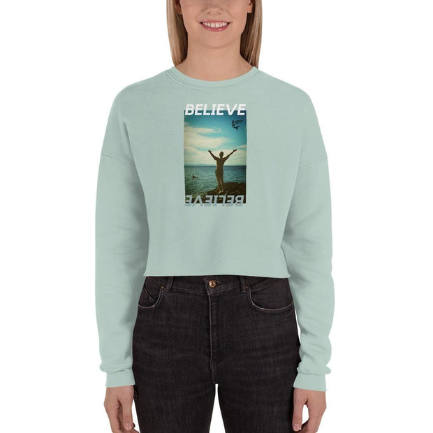 Believe | Crop Sweatshirt | Submission Shark-Dusty Blue-Submission Shark-Jiu-Jitsu-BJJ-Clothing