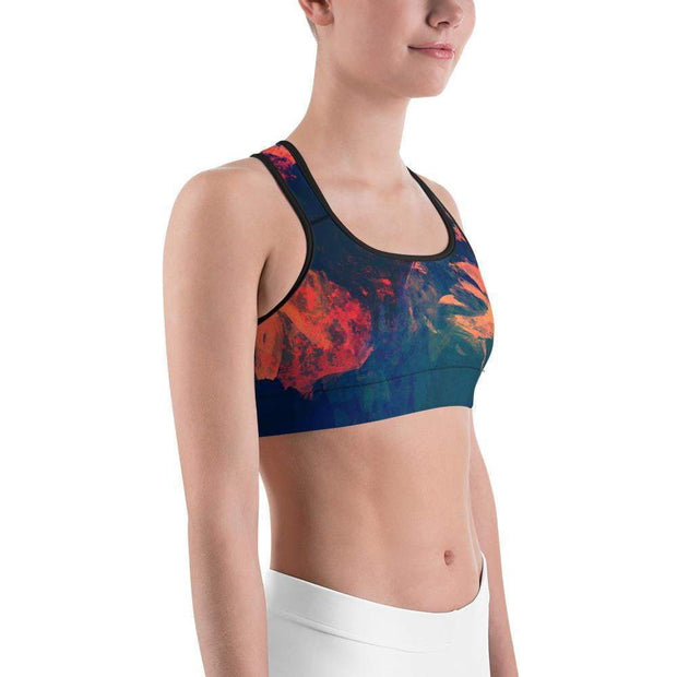 Abstract Azure Sports bra | Submission Shark Right