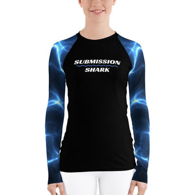Women's Blue and Black Jiu Jitsu Rash Guard (Aquatic Storms)