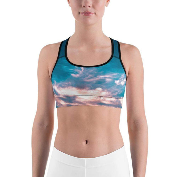 Aquatic Skies Sports bra | Submission Shark Front