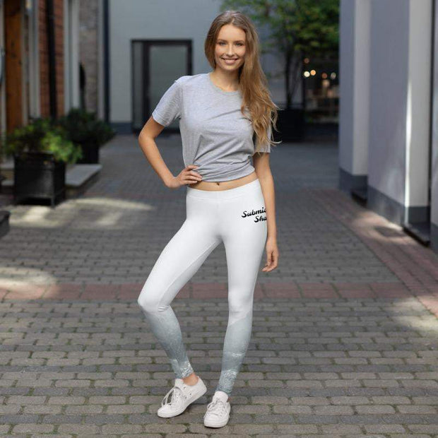 Mountain Mystery Leggings | Submission Shark White and Silver Pants