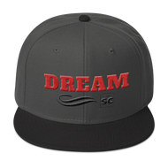 gray hat with black brim and red letters that spell dream