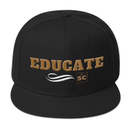 black hat with gold letters that spell educate